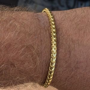 Men's Thick 4mm Franco Bracelet 14k Gold Over